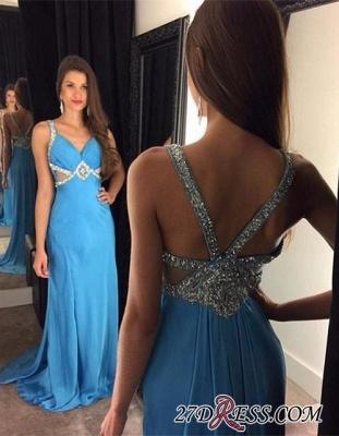 Elegant Blue Chiffon Sleeveless Crystal Long Prom Dress UKes UK AP0_1