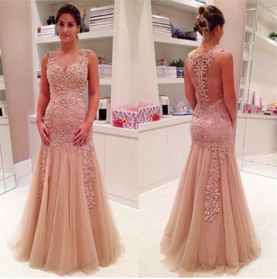 Delicate Lace Appliques Mermaid Prom Dress UK Zipper Straps Sleeveless_3