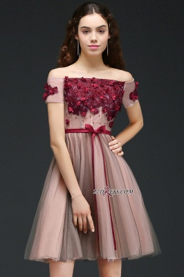 Knee-Length Burgundy-Flowers Off-the-Shoulder Short-Sleeves Homecoming Dress UKes UK_5