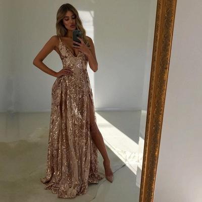 Luxury V-Neck Sequins Evening Dress UK | 2019 Prom Dress UK With Slit_3