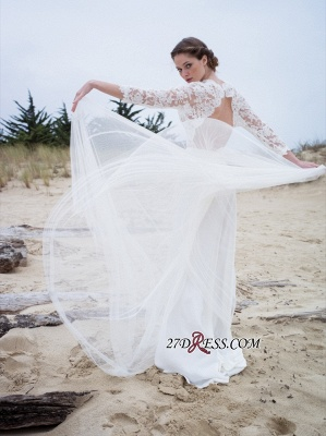 Simple A-line V-neck Long-Sleeves Lace Modern Wedding Dress_4