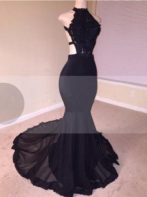 Black Lace Prom Dress UK | Halter Party Dress UK With Appliques  BA8130_1