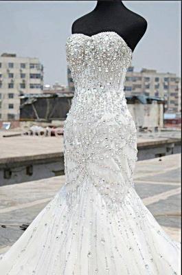 Gorgeous Crystals Sexy Mermaid Tulle Wedding Dress Sweetheart Sleeveless_1