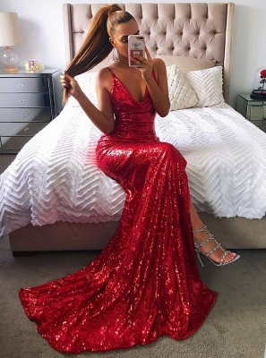 Elegant red sequins prom Dress UK, mermaid evening party gowns BA8159_4