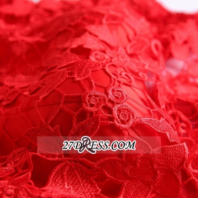 Short Elegant Cap-Sleeve Lace Red Tulle Homecoming Dress UK_3