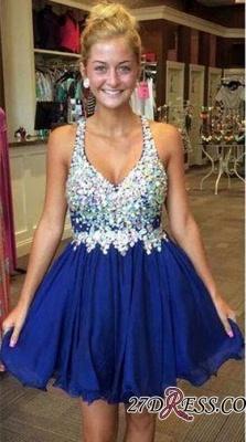 Short Chiffon Sparkly Popular Sleeveless Rhinestone Royal-Blue Homecoming Dress UKes UK BA3806_3