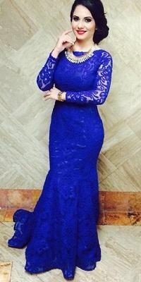 Modern Royal Blue Mermaid Lace Prom Dress UK Open Back_3