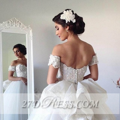 Elegant Sweetheart Tulle Wedding Dresses UK Tiered Lace Bridal Gowns_4
