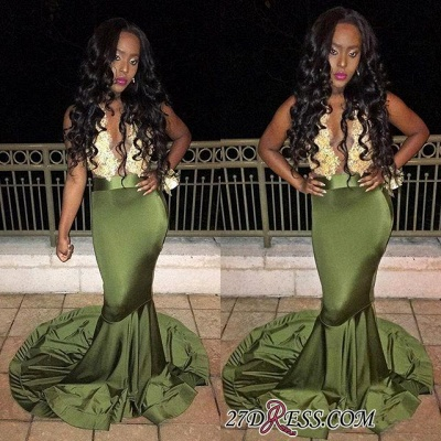 Sleeveless Luxury Mermaid Lace Prom Dress UK BK0_2