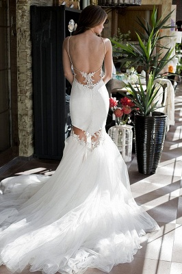 Backless Sexy Mermaid Wedding Dresses UK Spaghetti Straps Appliques Bridal Gowns_4