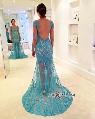 Sweep-Strap V-neck Mermaid Long-Sleeve Delicate Lace Prom Dress UK_2