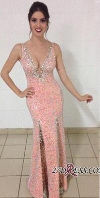 V-Neck Sleeveless Mermaid Gorgeous Sequined Crystal Prom Dress UKes UK_3