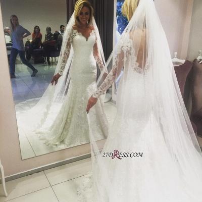 Long-Sleeve Elegant Lace Sexy Mermaid Wedding Dress_1