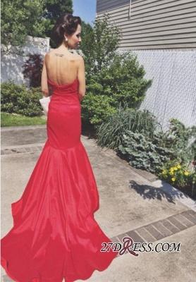 Sleeveless Sweep-Train Newest Sweetheart Mermaid Red Prom Dress UK_2