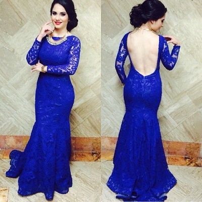 Modern Royal Blue Mermaid Lace Prom Dress UK Open Back_2
