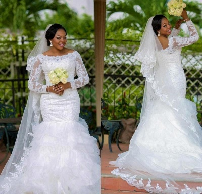 Gorgeous Long Sleeve Plus Size Wedding Dress Sexy Mermaid Lace Appliques With Beads_3