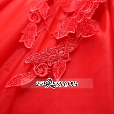 Short Elegant Cap-Sleeve Lace Red Tulle Homecoming Dress UK_1