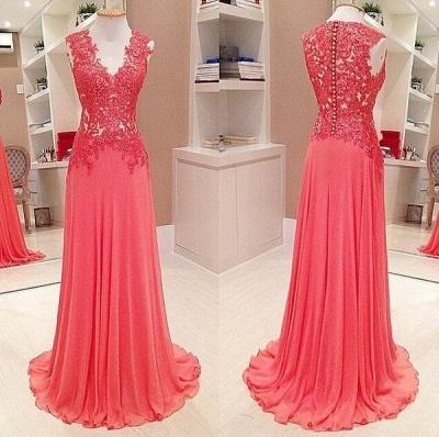 Sexy V-Neck Sleeveless Lace Appliques Evening Dress UK Long Chiffon Floor Length_3