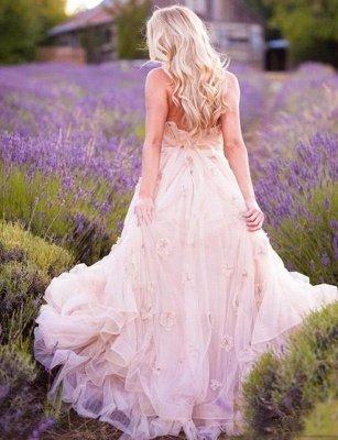 Delicate Pink Flowers Maternity Wedding Dress Sweetheart Sweep Train_3