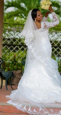 Gorgeous Long Sleeve Plus Size Wedding Dress Sexy Mermaid Lace Appliques With Beads_4