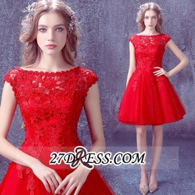 Short Elegant Cap-Sleeve Lace Red Tulle Homecoming Dress UK_5