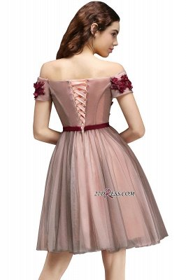 Knee-Length Burgundy-Flowers Off-the-Shoulder Short-Sleeves Homecoming Dress UKes UK_3