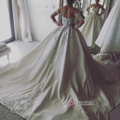 Long sleeve lace wedding dress,princess bridal gowns_2