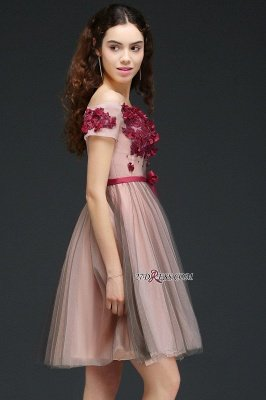 Knee-Length Burgundy-Flowers Off-the-Shoulder Short-Sleeves Homecoming Dress UKes UK_4