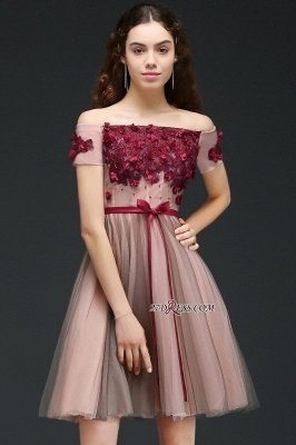 Knee-Length Burgundy-Flowers Off-the-Shoulder Short-Sleeves Homecoming Dress UKes UK_6