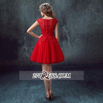 Short Elegant Cap-Sleeve Lace Red Tulle Homecoming Dress UK_4