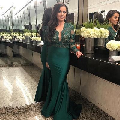 Sexy Long Sleeve Lace Prom Dress UK Mermaid Green Women's Party Dress UK_3