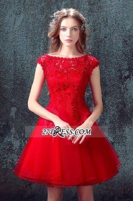 Short Elegant Cap-Sleeve Lace Red Tulle Homecoming Dress UK_6