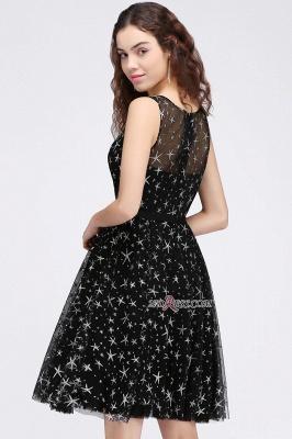 A-line Sash Illusion Zipper Modest Short Sleeveless Homecoming Dress UK_3