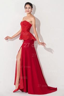 Red Sweetheart Sleeveless Evening Dress UK Front Split_3
