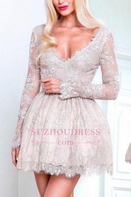 Short Champagne Long-Sleeve Lace Homecoming Dress UKes UK_1