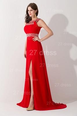 Elegant Red Front Split Evening Dress UK Crystals Sweep Train_2