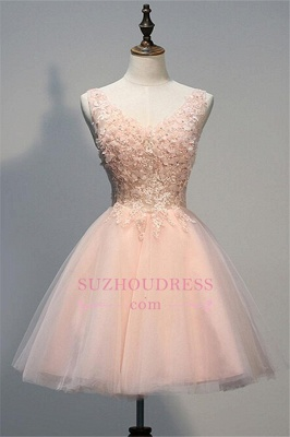 Appliques V-Neck Short Crystal A-line Sleeveless Tulle Homecoming Dress UK_1