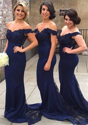 Elegant Off-the-shoulder Mermaid Lace Bridesmaid Dress UK Sweep Train JT144_1