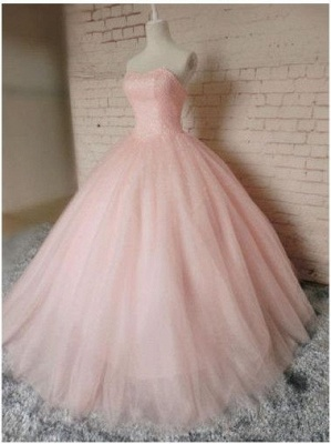 Sleeveless Sweetheart Prom Ball Gown Pink Tulle Dress UKes UK Chic Princess Dress UKes UK_1
