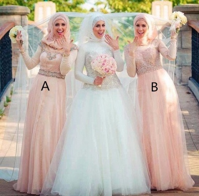Sexy Long Sleeve Tulle Bridesmaid Dress UK High Neck Beadings_2