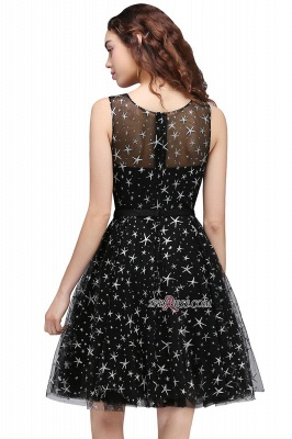 A-line Sash Illusion Zipper Modest Short Sleeveless Homecoming Dress UK_5