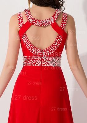 Elegant Red Front Split Evening Dress UK Crystals Sweep Train_4