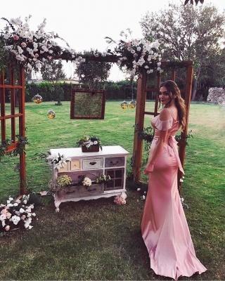 Elegant Pink Spaghetti Strap Short Sleeve Sweep Train Prom Dress UK BA7827_3