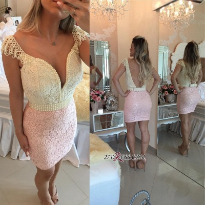 Mini Cap-Sleeve Bow Pearls Lace Bodycon Delicate Short Homecoming Dress UK_4