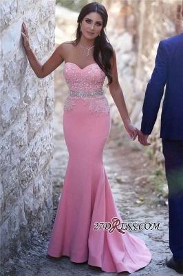 Pretty Pink Sweetheart Mermaid Beads Sleeveless Crystals Sequins Evening Dress UK BA6735_3