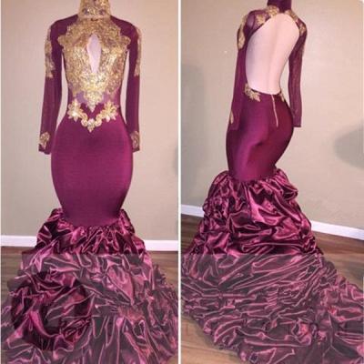 Burgundy Mermaid Prom Dress UK | Gold Appliques Party Dress UK_3