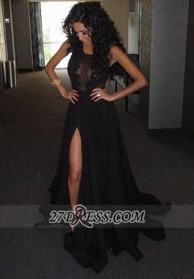 Elegant Sleeveless Black Chiffon Prom Dress UK With Front Split Floor-length BK0_1
