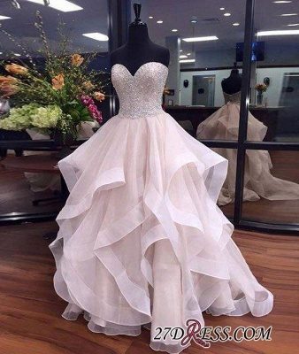 Tulle Beadings Sexy Ruffles Sweetheart Floor-Length Prom Dress UKes UK_2