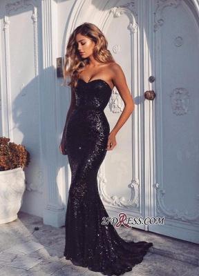 Black Sequined Sweep-Train Elegant Sheath-Column Sweetheart Evening Dress UK BA4554_1