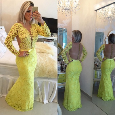 Stunning Long Sleeve Lace Evening Dress UK Pearls Mermaid Prom Gown BT0 BA6734_4